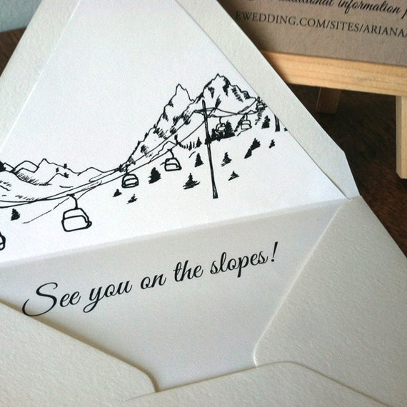 Ski Resort Skyline Destination Wedding Invitation SAMPLE ONLY