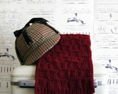 Burgundy Maroon Wine Scarf Hand Knit Checkerboard for Men, Ready to Ship