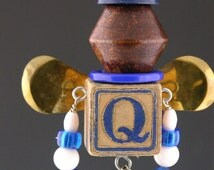 """OOAK Recycled, Upcycled, Found Object Folk Art Junk Fairy, """"Quilber"""""""