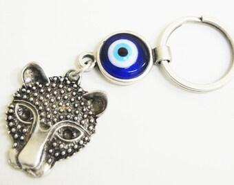 Tiger Key Chain Handmade Evil Eye Silver Plated