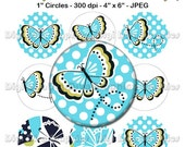 """M2MG Tahitian Butterfly Bottle Cap 1"""" Circles Images - No.140"""