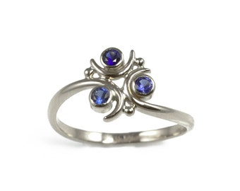 Zora Sapphire Ring in Sterling Silver - Geeky Ring - Legend of Zelda - Three Stone Ring, Ocarina of Time, Nintendo, Gaming