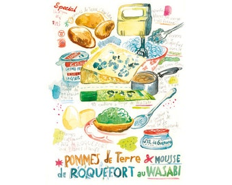 Wasabi roquefort recipe print, Japanese french food illustration, 8X10 print, Kitchen painting, Watercolor print, food art, Kitchen poster