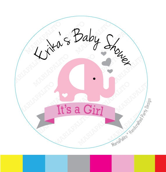Baby Girl Stickers, its a Girl ,Elephant Stickers, Personalized Baby Shower PRINTED round Stickers A815