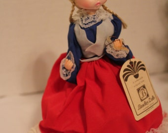 "Bradley Doll Miss July - Vintage Big Eyed Doll- Boudoir Doll- Collectible Doll 9"" With Tag"