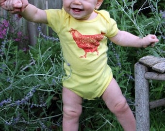 Chicken Yellow Bodysuit - hand screen printed - made in America