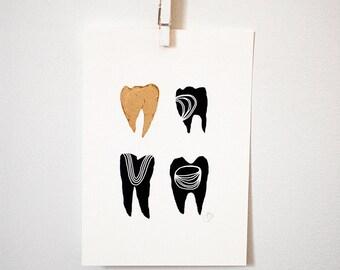 Gold Symbolic Teeth I print