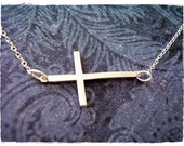 Silver Sideways Cross Necklace - Sterling Silver Sideways Cross Charm on a Delicate Sterling Silver Cable Chain or Charm Only