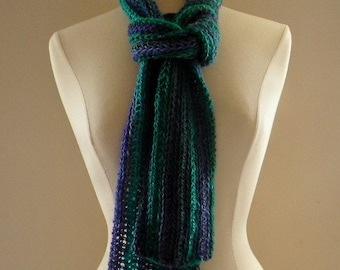 Crocheted Womens Light and Simple Scarf Neckwarmer Teal Dark Blue and Purple
