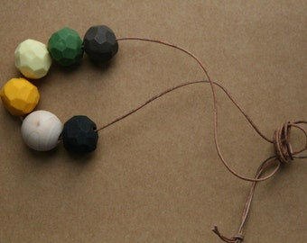 Clay Bead Necklace in Black, Natural Wood, Gold, Lemon, Dark Olive Green, Chocolate Brown