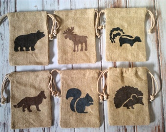 Party Favor Bags Burlap Woodland animals camping theme gift bags for Birthdays set of 6