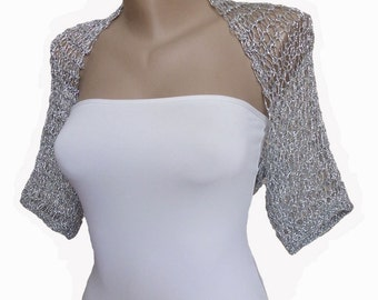 Knitted  Silver Wedding Bolero, Wedding Shrug Sleeves Bolero Jacket Silver Bridal Bolero Silver Shrug Bridesmaid Bolero Mother of the Bride