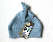 ORGANIC KNOT HAT for babies / pewter blue