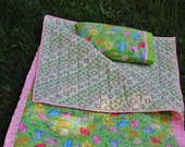 """Child's Quilted Sleeping Bag """"Garden Clogs"""" in Yellow, Candy Pink and Lime Green"""