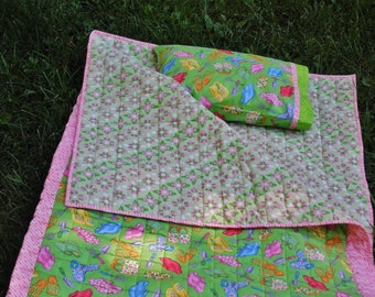 "Child's Quilted Sleeping Bag ""Garden Clogs"" in Yellow, Candy Pink and Lime Green"