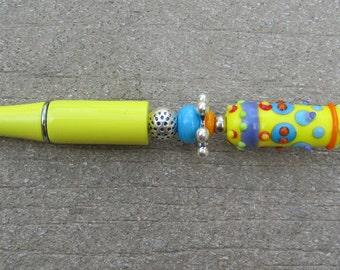 Colorful & Fun Handmade Artisan Lampwork Beaded Pen - Focal Bead by Venus Beads