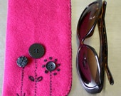 Pink and purple felt sunglasses or reading glasses case with buttons & embroidery