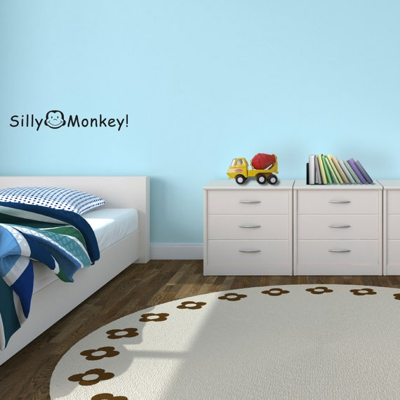 Children Decor Vinyl Wall Art - Silly Monkey - Removable Vinyl Wall Decal by Katazoom