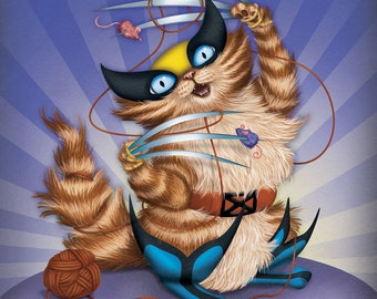 Wolverine Cat - 8x10 art print - cat dressed up like Wolverine from the X-men. Superhero kitty