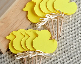 Gender Neutral Baby Shower Decorations.  Handcrafted in 2-3 Business Days.  Yellow Duck Cupcake Toppers 12CT.