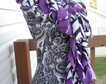 Handmade Purple and Black/White Zebra Fleece Boa Scarf*
