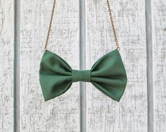 Forest Green Bowtie Necklace , Dark Green  Women Bow Tie