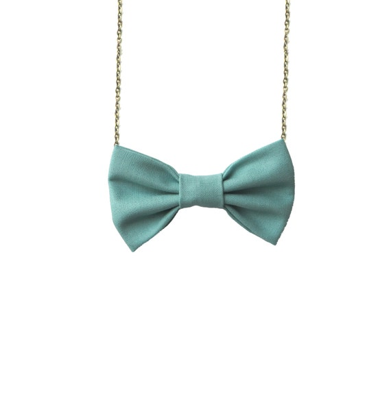 Sage Mint Bow Tie Necklace, Casual Women Bowtie