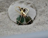 Seaglass Earrings - Forest Green Seaglass on Vermeil Lever Back Earrings - Seaglass Jewelry