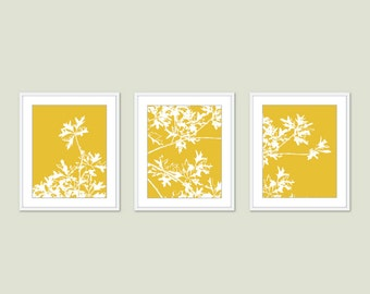 Maple Tree Wall Art - Ample Leaves Art Prints Set - Set of 3 - Autumn Tree Art - Mustard Yellow - Woodland Tree Trio Triptych - Aldari Art