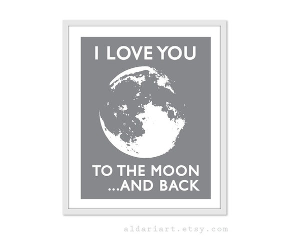 i love you to the moon and back digital art print by aldariart. Black Bedroom Furniture Sets. Home Design Ideas