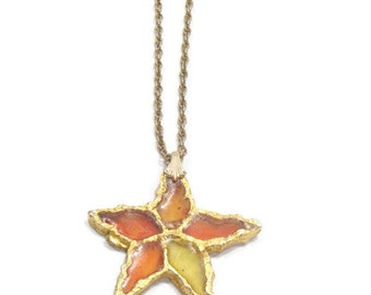 Vintage Stain Glass Star Pendant Necklace