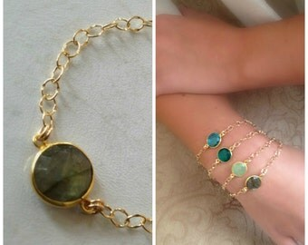 22k Vermeil Labradorite Bezel Set, Framed Bracelet with Gold Filled Chain-statement bracelet