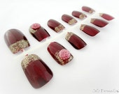 Golden burgundy french nail set, Japanese nail art, handpainted press on nails