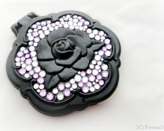 Compact mirror black rose, bridesmaid gift pocket mirror, bling mirror