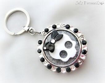 Creepy cute skull keychain, kawaii deco folding purse hook, black and white bag charm, pastel goth