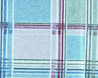 Plaid Blue Green Pink, Print Upholstery Fabric, Millcreek Enchanted Gardens, Heavy Weight Cotton, half yard, B4