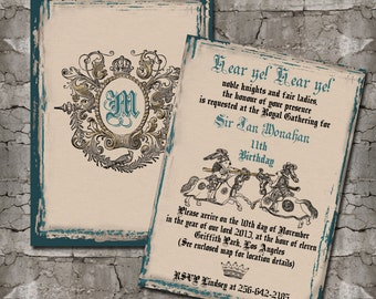 Vintage Jousting Knights Invitations and Thank You Cards (Sold Separately)