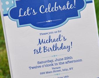 Boys Birthday Invitations - Boys 1st Birthday Personalized Party Decorations - Dark Blue and Light Blue Polkadot - Set of 12