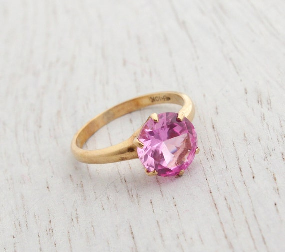 Sale Vintage 10k Yellow Gold Pink Stone Ring Mid Century