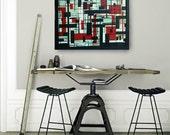40% OFF! OOAK Abstract Modern Art Deco Acrylic Painting on Canvas - Jazz Rhythms 18x24