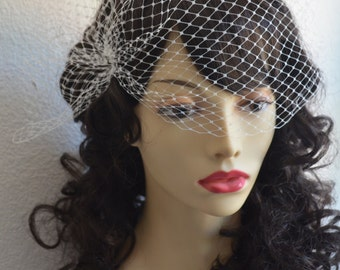 Birdcage Veil, Mini side pouf veil, Small side Veil,Visor Veil,Side Pouf, French Netting,Style VB004