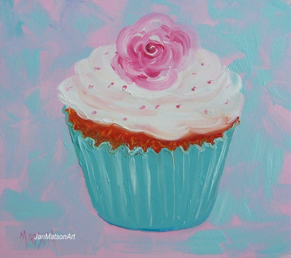 Cupcake painting kitchen decor cupcake art miniature art for Kitchen accessories cupcake design