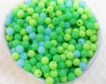 300x 6mm Tiny Sea Green Coloured Resin Multi color Globe beads .. Super Bright