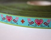 Jacquard Ribbon, Bird Ribbon, Lovebird Ribbon, Heart Ribbon, Farbenmix Lovebirds Ribbon, Blue Heart Sewing Tape, 1 metre