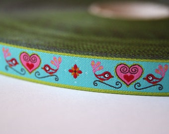 Jacquard Ribbon, Bird Ribbon, Lovebird Ribbon, Heart Ribbon, Farbenmix Lovebirds Ribbon, Blue Heart Sewing Tape, 1 metre