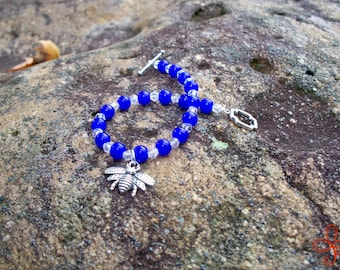 Bee Charm Bracelet (deep blue and clear)