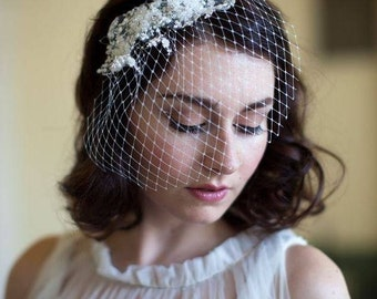 Ivory Birdcage Veil - Bridal Birdcage with Lace - Champagne Veil - 1930s Vintage Wedding Veil - Small  french net veil with Floral beading