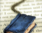 Dark Blue Book Necklace - Beloved Book - Jewelry- Gift idea for Book Lovers - Literary gift