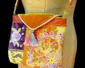 Handmade Purse, Vintage Fabrics, Leather, Vintage Doily, Hand Tinted Lace Applique, Beading, Tassel