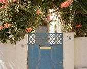 Blue Door Photography, Landscape Photograph, Film Photography, Blue Gate, Orange Flowers, Flower Photography, Modern Decor - Blue Summer